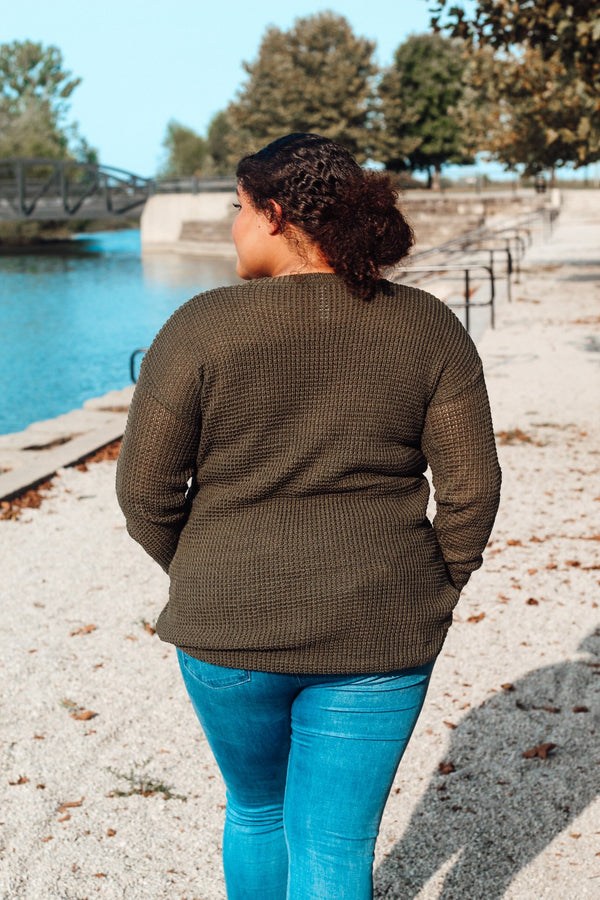Army Green Waffle Sweater (Plus Size)