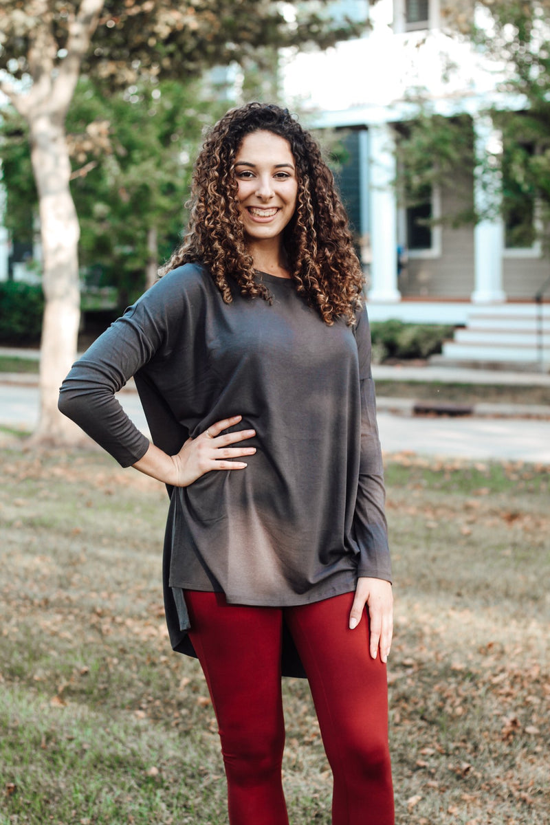 Gray Dolman Round Neck Long Sleeve
