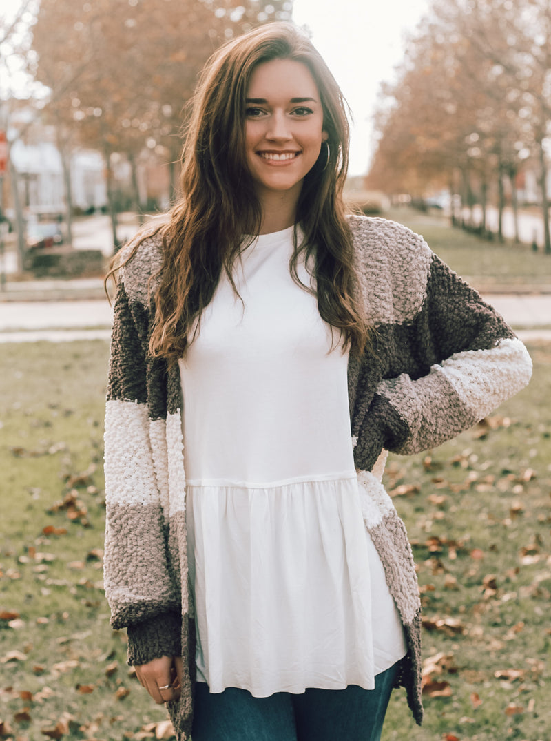 Striped Popcorn Cardigan
