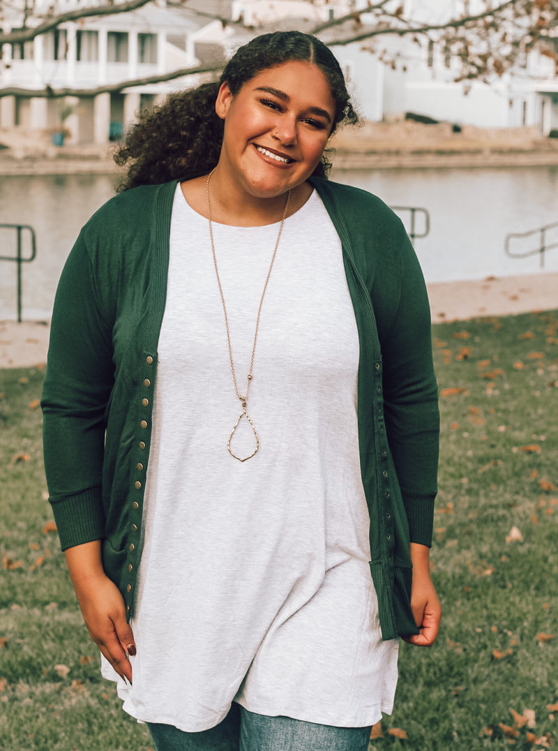 Hunter Green Button Cardigan (Plus Size)