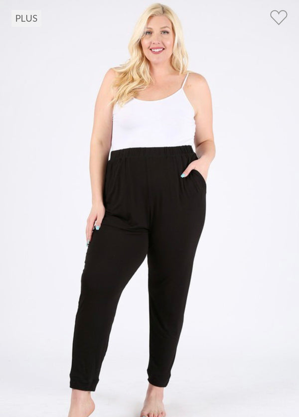 High Waisted Relaxed Fit Pants (Plus Size)