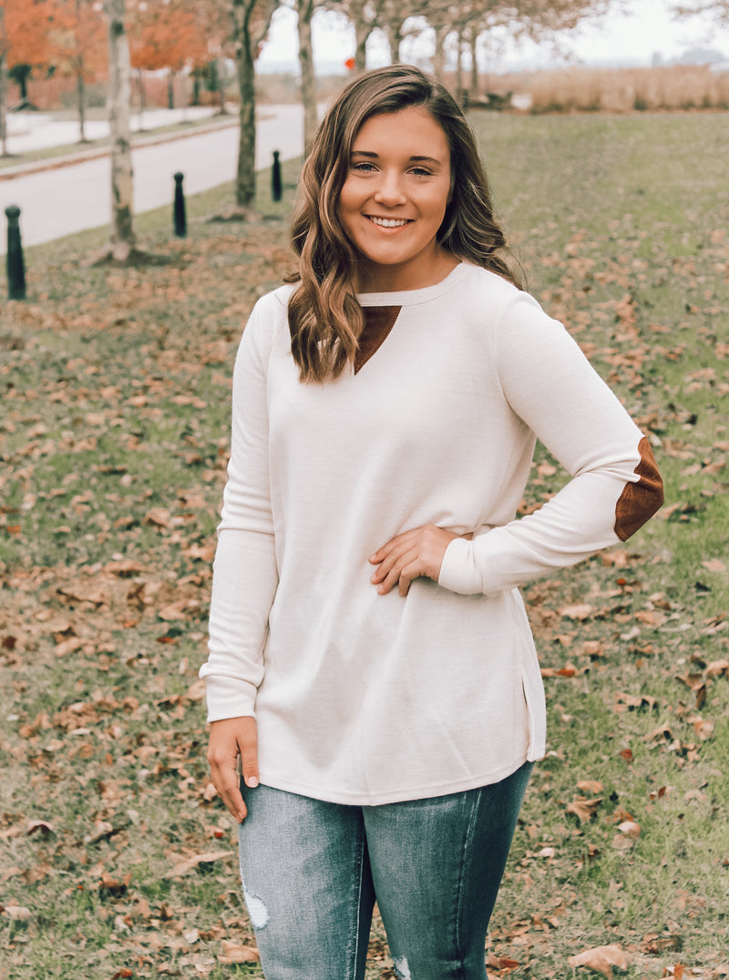 Cozy Tunic with Suede Patches