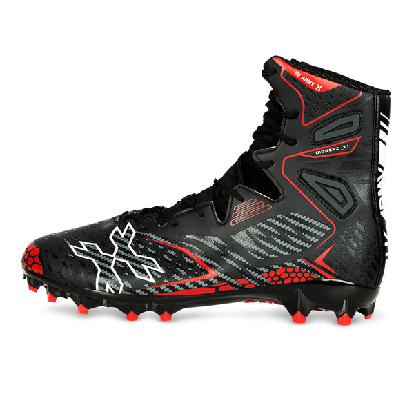 Diggerz_X1 Hightop Cleats - Black/Red