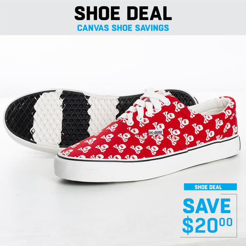 HK Skull Red Canvas Sneaker