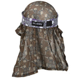 Skulls - Hostilewear Headwrap - Purple Skulls  / Tan Skull Mesh