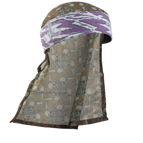 Snakes - Hostilewear Headwrap - Purple Snakes / Tan Skull Mesh