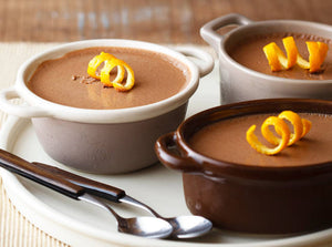Chocolate Pots de Crème with Grand Marnier and Candied Orange Peels
