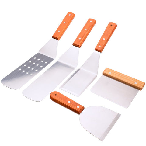 5 Pcs Stainless Steel Spatula Set With Wood Handle For The Kitchen or Grill - The Epicurean Cook®