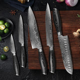 Kisu® 7PCS Knife Collection with Wooden Holder made from Damascus Steel - The Epicurean Cook®