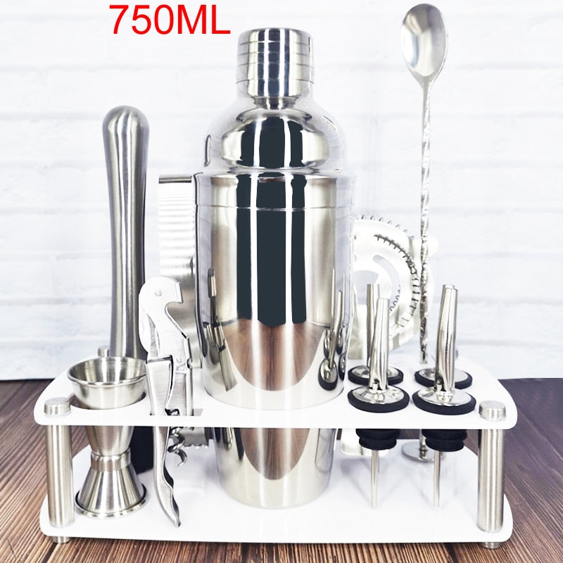 IYouNice 1-12 Pcs Cocktail Shaker Set Jigger Mixing Spoon Tong Barware Bartender Tools W/Wood Storage Stand Bars Mixed Drinks - The Epicurean Cook®