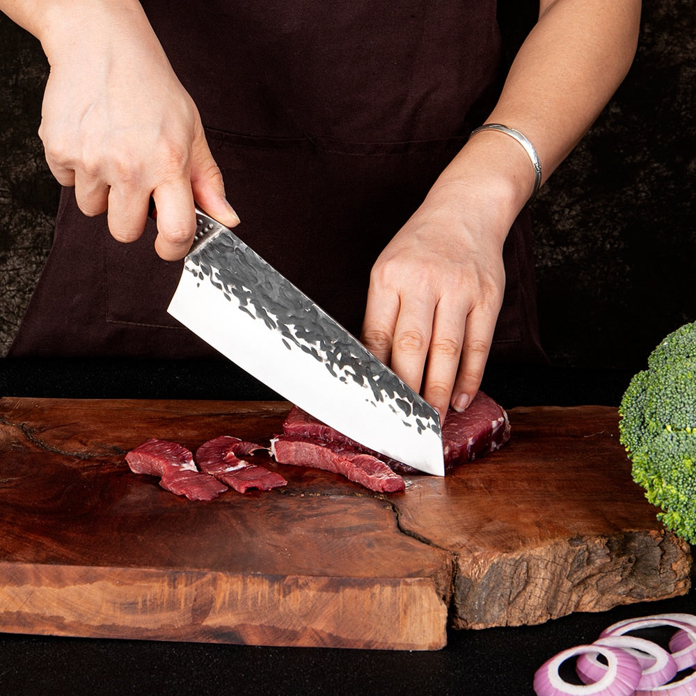 The Vallon® Hand Forged Professional Kiritsuke Style Chef Knife with Ash Handle - The Epicurean Cook®