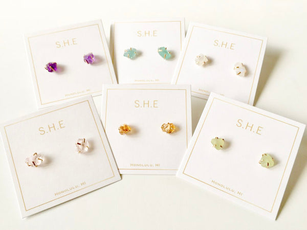 Raw Stone Studs Earrings