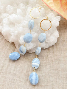 Long Blue Opal Earring
