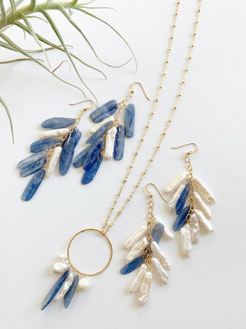Long Hoop Kyanite / Pearl Necklace