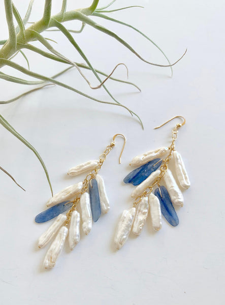 Long Hoop Kyanite / Pearls Earring