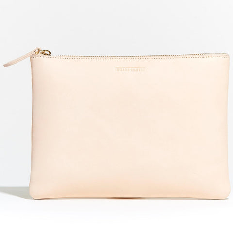 Large Zip Pouch Vegetable Tanned