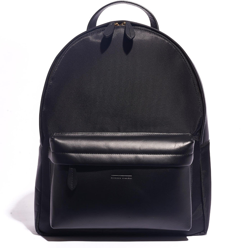 BACKPACK BLACK NYLON AND COW HIDE