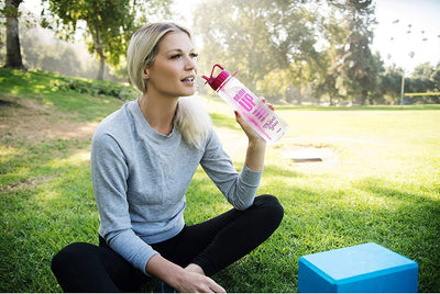 H2OCOACH - Drink Up Water Bottle with Time Markers - 30 oz - Pink - Wholesale