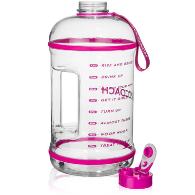 Water Bottle with Time Markers - 1 Gallon (128 oz) - Transparent w. Pink - H2OCoach