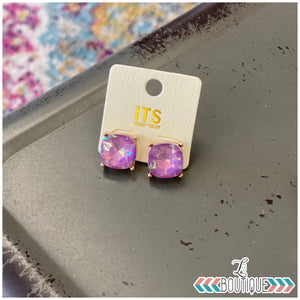 Faceted Glass Stud Earrings