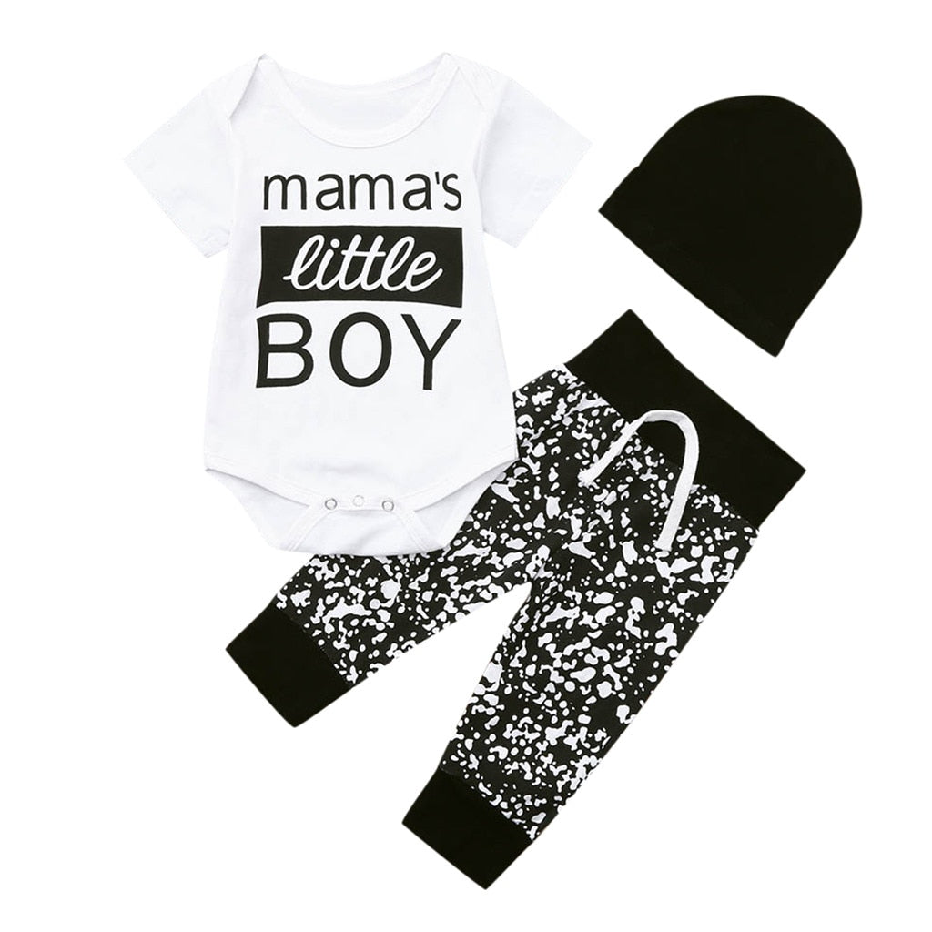 3pcs Fashion Baby Infant Boy Outfits Hat+T-shirt+Floral Pants Kids Clothes Set