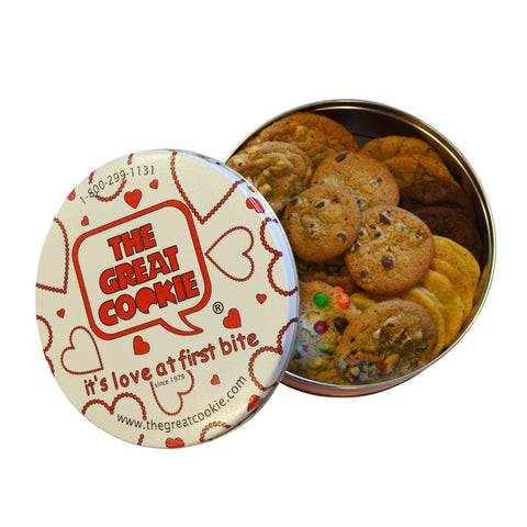 Love Cookie Gift Tin with 2lbs. fresh baked cookies of your choice