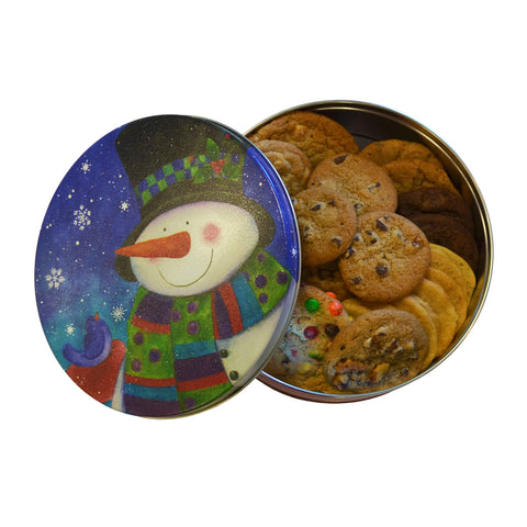 Snowman Keepsake Cookie Tin- 2 lb. fresh baked cookies of your choice