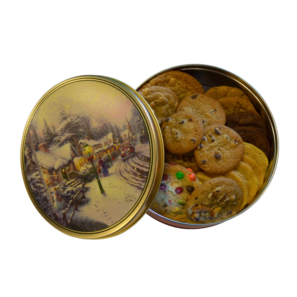 Winter Scene Holiday Keepsake Cookie Tin- 2 lb. fresh baked cookies of your choice