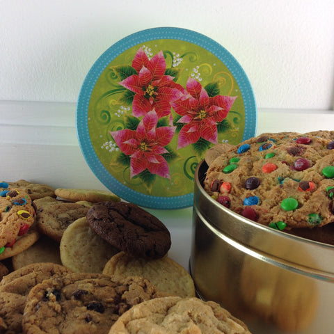 Poinsettia Flower Cookie tin with 2 lb. Fresh Baked Cookies