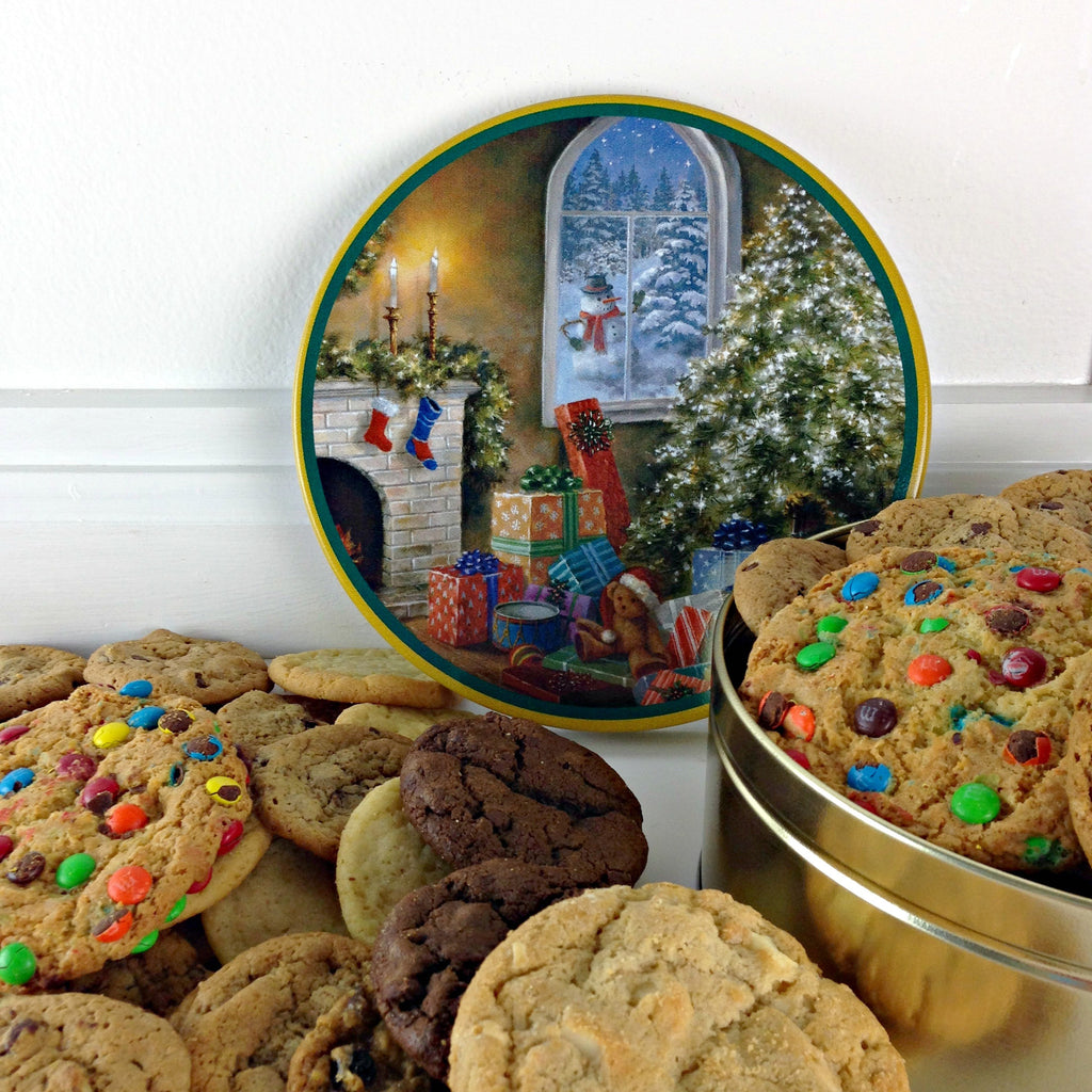 Christmas Tree Scene Keepsake Cookie Tin- 2 lb. cookies of your choice