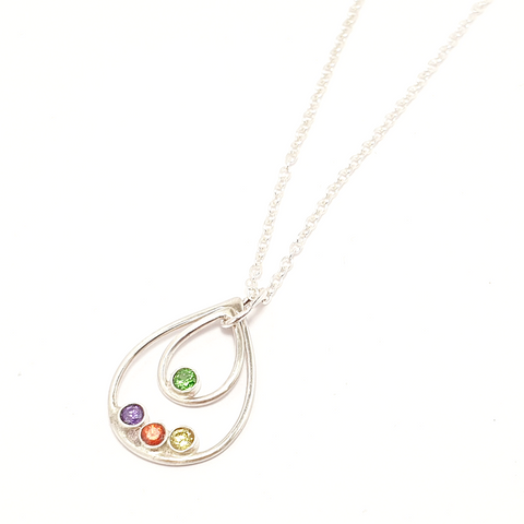 Mother's Day Gift Birthstone Quadruple Drop-Necklace-Sophie-May Designs