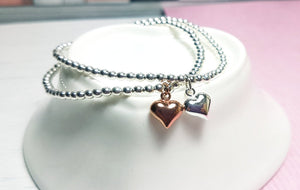 Sterling silver heart stacking bracelet duo - Sophie-May Designs