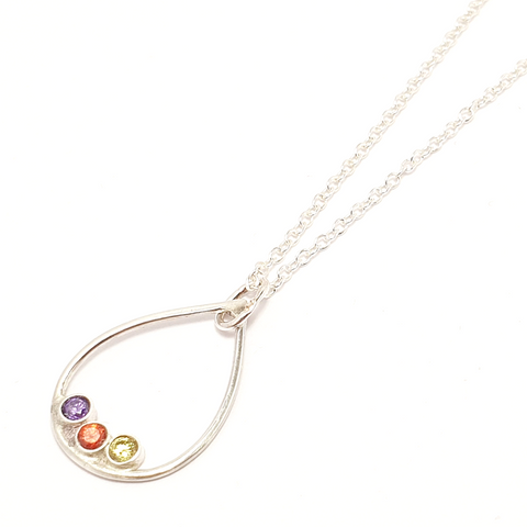 Mother's Day Gift Birthstone Triple Drop-Necklace-Sophie-May Designs