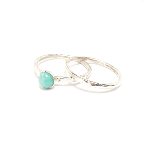 Amazonite Gemstone Stacking Ring Set-Stacking Rings-Sophie-May Designs