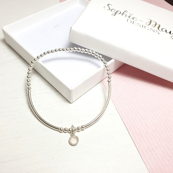 Mother's Day Gift Rose Quartz Tube Bracelet-Bracelet-Sophie-May Designs