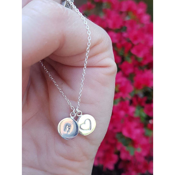 Hand Stamped Initial Heart Necklace-Necklace-Sophie-May Designs