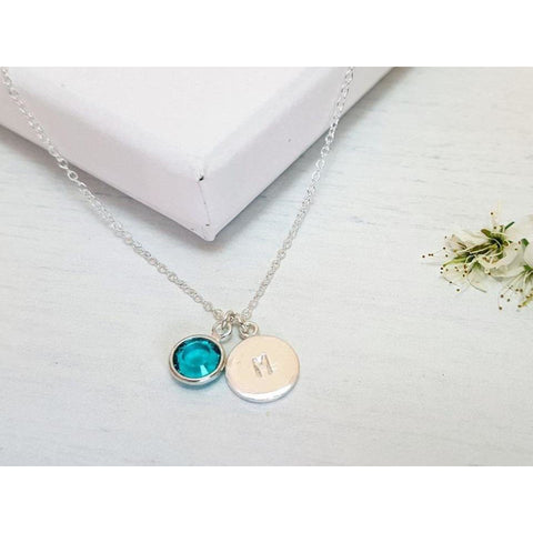 Hand Stamped Initial Birthstone Necklace - Sophie-May Designs
