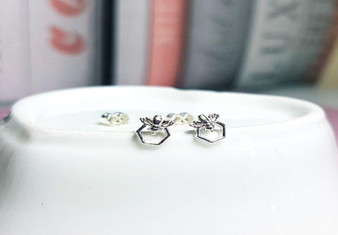 Bee on Honeycomb silver Studs - Sophie-May Designs