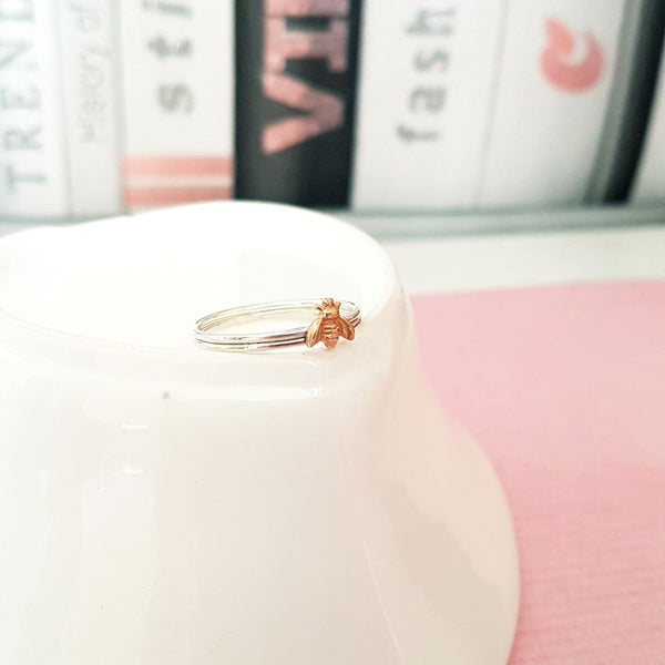 Bronze Bee Stacking Ring Duo-Stacking Rings-Sophie-May Designs