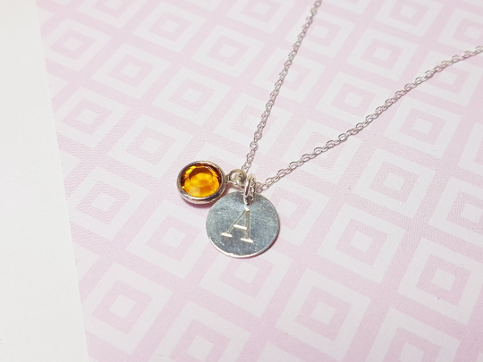 Engraved Initial Birthstone Necklace-Necklace-Sophie-May Designs