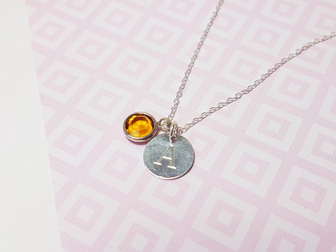Engraved Initial Birthstone Necklace - Sophie-May Designs