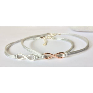Silver and Rose Gold Infinity Cord Bracelet-Bracelet-Sophie-May Designs