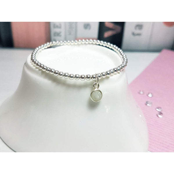 Sterling silver moonstone gemstone bracelet-Bracelet-Sophie-May Designs