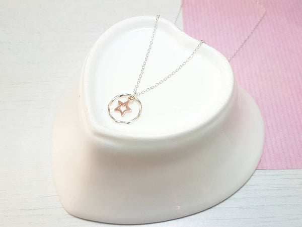Rose gold star drop necklace-Necklace-Sophie-May Designs