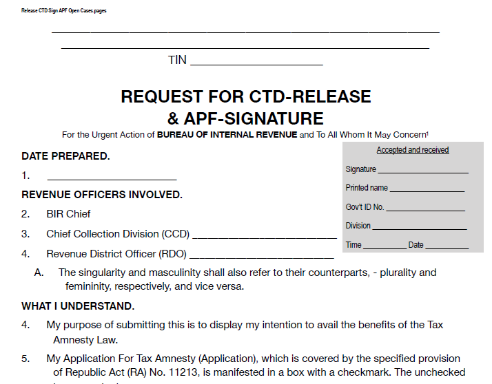 Request for CTD-Release and APF Signature Template - Emelino T Maestro
