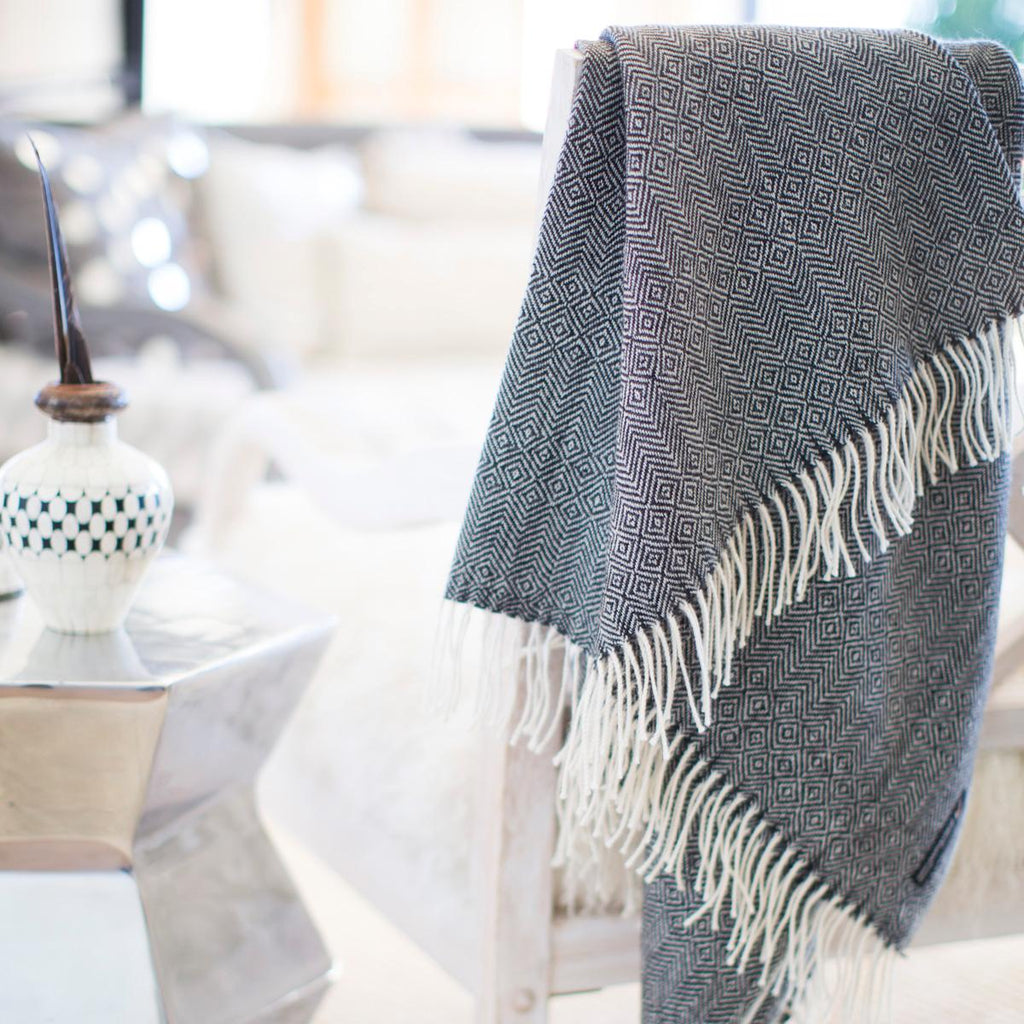 Black & Cream 100% Baby Alpaca Throw-Asher Market soft, cozy with classic every day style