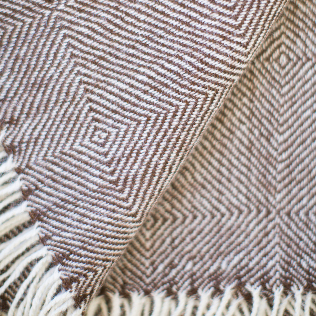 Brown & Cream 100% Baby Alpaca Throw-Asher Market soft, cozy with classic every day style