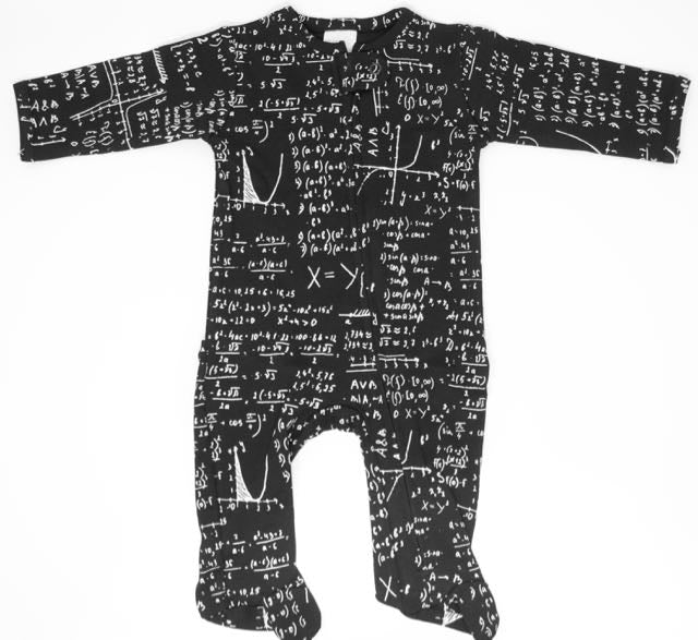 black and white math print baby and kids zipper footie pajama loungewear for teachers, scientists, engineers and nerds