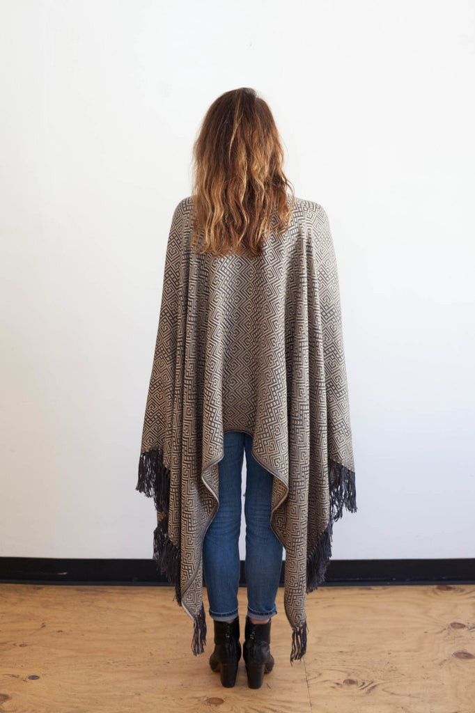 Machine washable warm cozy and soft alpaca blend poncho shawl cape neutral grey gray