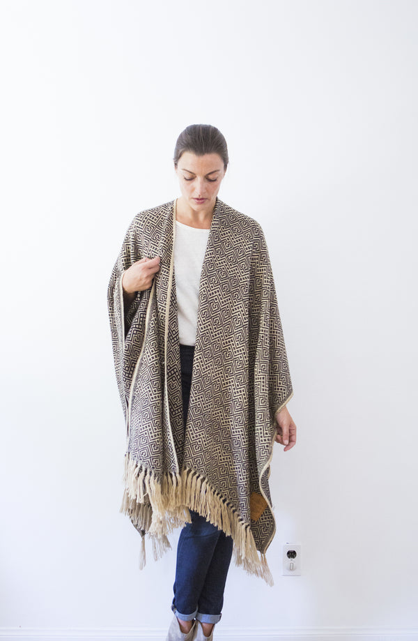 Machine washable warm cozy and soft alpaca blend poncho shawl cape neutral black tan